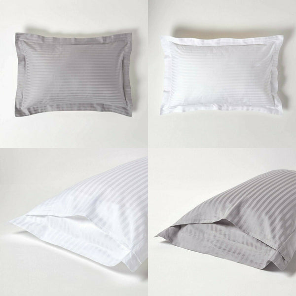 Satin Stripe Housewife Pillow Cases Pair 600 Thread Count 100% Egyptian Cotton