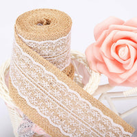 Burlap Ribbon Roll With White Lace Trims ZoraSelena Natural Fabric And 295ft