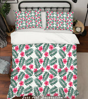 3D Pink Floral Leaves Quilt Cover Duvet Cover Comforter Cover Pillow Case 125