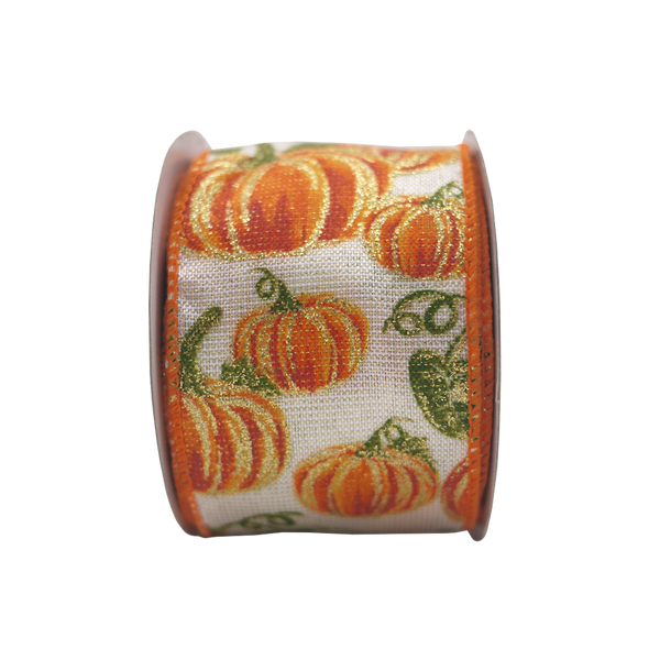 2-1/2in 10YD Wired Fall Pumpkin Ivory Burlap Ribbon for Gift,Floral,Craft Use