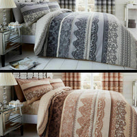 Reverie Mandala Duvet Quilt Cover & Pillow Case Bedding Set Grey Brown Cream
