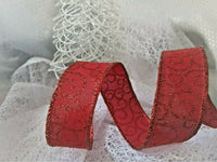 Romantic RED SWIRLS on burlap style ribbon Christmas - Luxury Wire Edged Ribbon