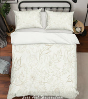 3D Floral Leaves White Quilt Cover Duvet Cover Comforter Cover Pillow Case 158