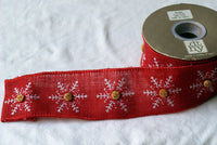 5 Yards Red Burlap Jute Wired Ribbon Snowflake Wooden Button Rustic Christmas