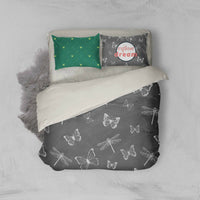 3D Grey Dragonfly Butterfly Quilt Cover Duvet Cover Comforter Cover Pillow Case