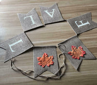 Fall Decor, Fall Burlap Banner Assembled With Maple Leaf Design, Thanksgiving De