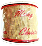 Merry Christmas Burlap Wired Ribbon Beige Red Embroidered Holiday Expressions