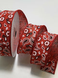 "10 Yds - 1 1/2"" Red Faux Burlap Wired Ribbon Red Bandana Print"