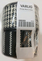 "IKEA Varlig Maria Vinka Fabric Ribbon 2 Roll 2""Wide White Blk Houndstooth Stripe"