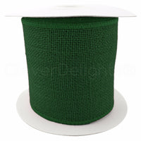"4"" Green Burlap Ribbon - 10 Yards - Wired / Finished Edges - Super-Fine Weave"