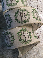 "10 Yds Of 2 1/2"" Wired Edge Faux Burlap Ribbon With Merry Christmas In A Wreath"