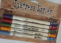 Tim Holtz Distress Marker Dual Tip Pen Single or Set Fine Point & Brush Ends NEW