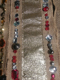 "Lot Of 3 Beaded Burlap Strips Home Holiday Decor GUC 40"" 33"" 32"""