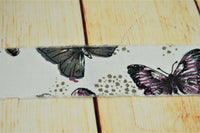 Ribbon With Butterfly Vintage Look Natural Burlap Frayed Soft Linen Hessian