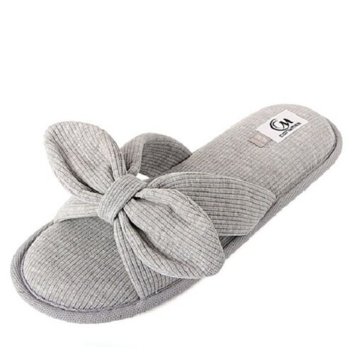 Women Winter Ribbon Slippers Indoor BEdroom Home Floor Soft Canvas Ladies Sandal