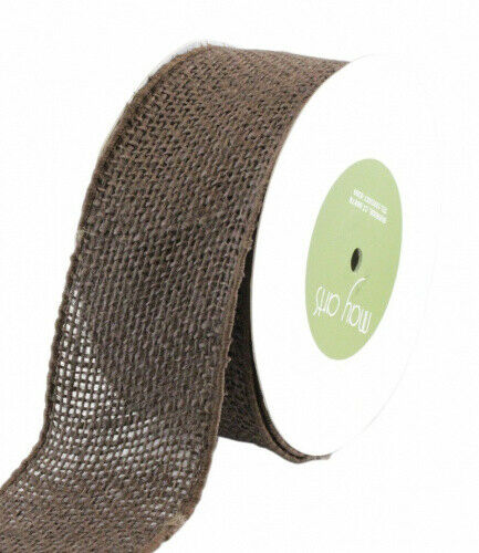 (Brown) - May Arts Wired Burlap Ribbon 5.1cm - 1.3cm X10yd. Delivery is Free