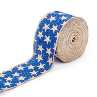 Darice® Patriotic Blue Star Burlap Ribbon: 2-1/2 inches x 25 feet w