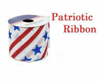 Patriotic Stars and Stripes Glitter Ribbon Arts and Crafts White Burlap