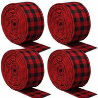 URATOT Red and Black Plaid Burlap Ribbon Christmas Wired Ribbon Wrapping Ribb#52
