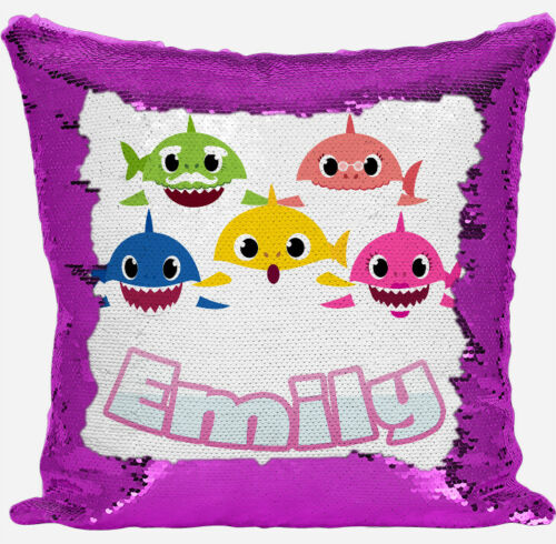 Personalised Baby Shark Design Any Name Magic Reveal Pink Sequin Cushion Cover 2