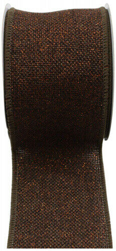 (6.4cm , Chocolate/Copper) - Kel-Toy RDJB162-26 Sparkle Faux Burlap Ribbon