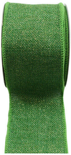 (6.4cm , Forest/ Gold) - Kel-Toy RDJB162-28G Sparkle Faux Burlap Ribbon with
