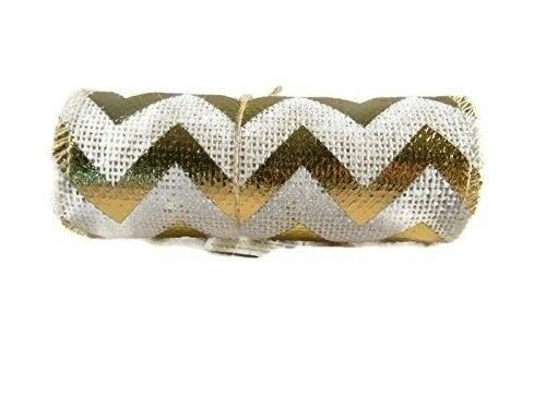 Red Foil Chevron Burlap Ribbons - 5.5 inch Wide - 8 feet