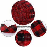 URATOT Red and Black Plaid Burlap Ribbon Christmas Wired Ribbon Wrapping Ribb#05