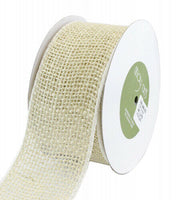 (Light Natural) - May Arts Wired Burlap Ribbon 5.1cm - 1.3cm X10yd