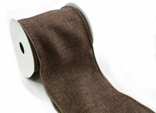 (10cm , Chocolate Brown) - Kel-Toy Wired Faux Burlap Ribbon, 10cm by 10-Yard,