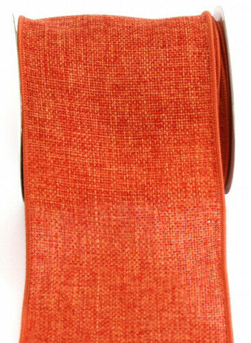 (10cm , Orange) - Kel-Toy Wired Faux Burlap Ribbon, 10cm by 10-Yard, Orange