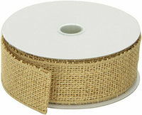 "Morex Ribbon Burlap Wired Ribbon, 1.5"" x 10 Yd, Natural 1.5"" x 10 Yd Natural"