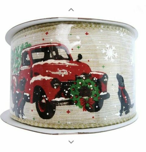 Christmas Holiday Craft Ribbon RED TRUCK with TREE BURLAP Wired Ribbon 2.5 x 9Ft