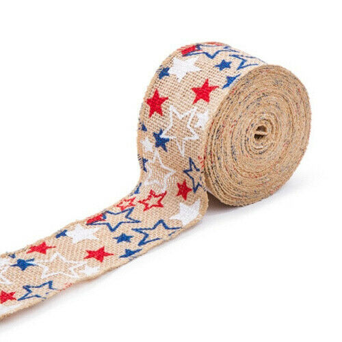 Darice 30021385 Red, White and Blue Burlap Ribbon: 5.1cm - 1.3cm x 7.6m