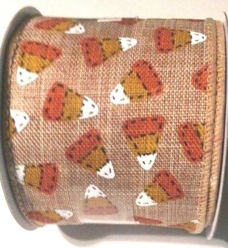 "Primitive Country Candy Corn Burlap Style Wired Ribbon 2.5"" x 12' New"
