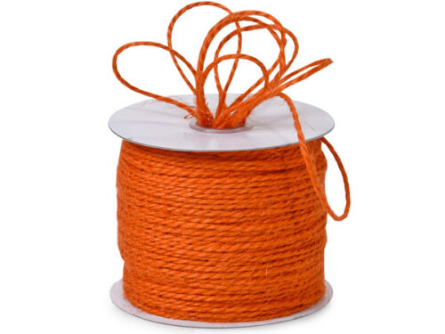 "25YDS HARVEST ORANGE 1/16"" Jute Burlap 2-ply Twine"