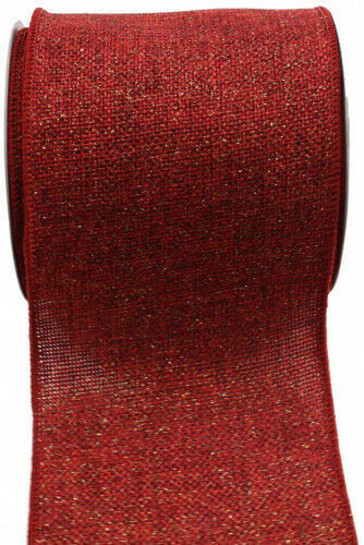 (10cm , Dark Red/Gold) - Kel-Toy RDJB104-11G Sparkle Faux Burlap Ribbon with