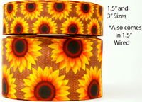 "3"" INCH SUNFLOWERS ON BURLAP PRINTED ON CHEER BOW GROSGRAIN RIBBON FOR FALL"