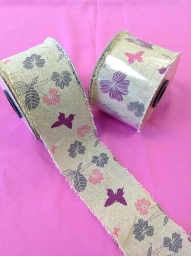 BURLAP FRAYED EDGE HESSIAN RIBBON - CONTEMPORARY FLORAL 70mm