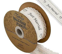 38MM X 4M Cotton Lace Edge Wedding Ribbons - Mr & Mrs, Just Married , Bride etc