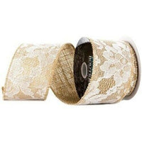 Printed Burlap Ribbons - Lace 2.5inch Wide - 3 Yards