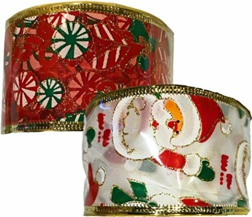 Christmas Faux Burlap Wire Edge Ribbon (Santa & Candy Cane)