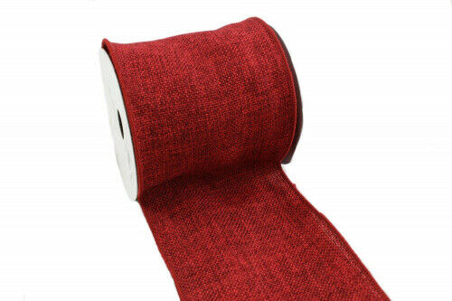 (10cm , Dark Red) - Kel-Toy Wired Faux Burlap Ribbon, 10cm by 10-Yard, Dark Red
