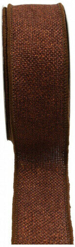 (3.8cm , Copper Brown) - Kel-Toy RDJB138-25 Sparkle Faux Burlap Ribbon, 3.8cm