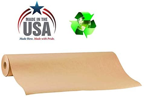 "American Made 100% Recycled Brown Kraft Paper Roll 17.75"" x 1800"" (150 ft), Multipurpose Arts & Crafts, Gift Wrapping, Packing and Shipping, by NY Paper Mill"