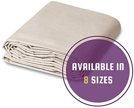 CCS CHICAGO CANVAS & SUPPLY 12 oz Canvas Cotton Drop Cloth (10 by 10 feet, Natural)