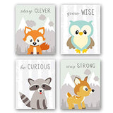 Unframed Woodland Animals Art Print Adorable Fox Owl Racoon Deer Wall Art Painting,Set of 4(8''x10'') Canvas Cartoon Inspirational Picture for Kids Room Nursery Decor