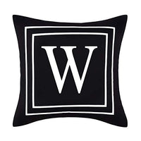 BLEUM CADE Pillow Covers English Alphabet J Throw Pillow Cover Black Throw Pillow Case Modern Cushion Cover for Sofa Bedroom Chair Couch Car (Black, 18 x 18 Inch)