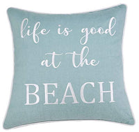 "DecorHouzz Embroidered Beach Inspired Pillowcase Paddle Out Surf Decor Beach House Coastal Living Surfer Gift Ocean Lover California Style (Life is Good (Teal), 18""x18"")"