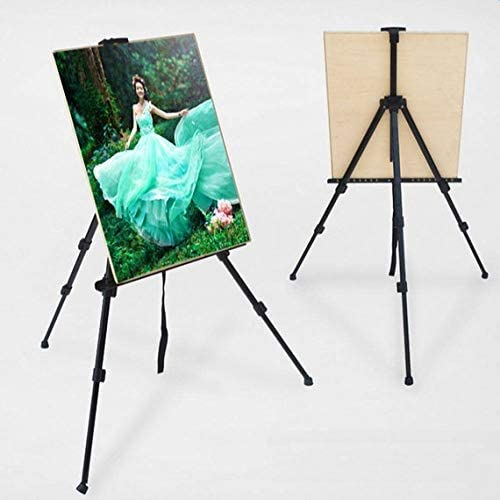 "66"" Tall Reinforced Display Easel Stand Aluminum Tripod Art Easel Adjustable Height 21"" to 66"" Black w Portable Bag-Designed for Floor and Table-top Displaying or Canvas Painting - by OPN MINDD"